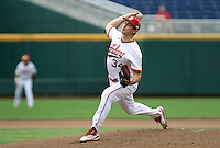 Jonathan Stiever delivers a pitch during the seventh inning of the Hoosiers' 5-3 loss to Maryland in the opening game of the Big Ten Tournament at TD Ameritrade Park in Omaha, Neb. on May 25, 2016. (Photo by Michelle Bishop)