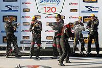 2017 IMSA Continental Tire SportsCar Challenge<br /> Visit Sebring 120<br /> Sebring International Raceway, Sebring, FL USA<br /> Friday 17 March 2017<br /> 44, Nissan, Altima, ST, Sarah Cattaneo, Owen Trinkler, 17, Porsche, Porsche Cayman, ST, Spencer Pumpelly, Nick Galante, 56, Porsche, Porsche Cayman, ST, Jeff Mosing, Eric Foss, podium, champagne<br /> World Copyright: MIchael L. Levitt<br /> LAT Images<br /> ref: Digital Image levitt_seb_0317-15533