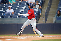 Fort Myers Miracle shortstop Luis Arraez (4) follows through on a swing during a game against the Tampa Tarpons on May 2, 2018 at George M. Steinbrenner Field in Tampa, Florida.  Fort Myers defeated Tampa 5-0.  (Mike Janes/Four Seam Images)