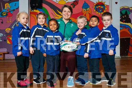 Ciara Griffin Ireland Women's Rugby captain pictured with Junior infants at CBS Primary, Amanda Briede, Maja Urbala, Ashlyn Neerakkal, Lucas Sugrue, Muhammed Hayan P.A., Adam Grondys.