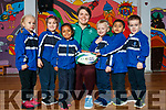 Ciara Griffin Ireland Women's Rugby captain pictured with Junior infants at CBS Primary, Amanda Briede, Maja Urbala, Ashlyn Neerakkal, Lucas Sugrue, Muhammed Hayan P.A., Adam Grondys.