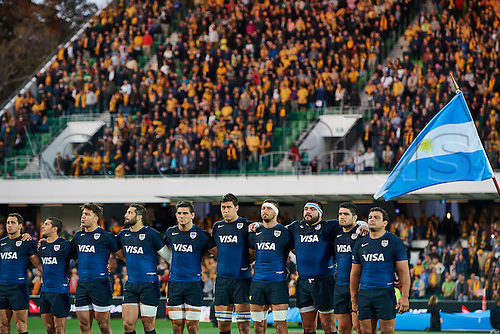 17.09.2016. Perth, Australia.  The Pumas line up for the national anthem during the Rugby Championship test match between the Australian Qantas Wallabies and Argentina's Los Pumas from NIB Stadium - Saturday 17th September 2016 in Perth, Australia.