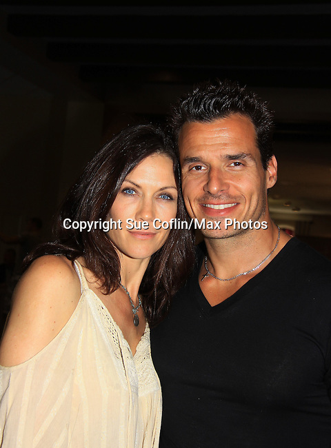 "Young and Restless Stacy Haiduk ""Patty Williams"", Days of Our Lives and All My Children ""Hannah Nichols"" poses with General Hospital's Antonio Sabato Jr. ""Jagger"" (GH Night Shift) and Bold and The Beautiful ""Dante"" at Chiller Theatre 2013 on April 28, 2013 at the Parsippany Sheraton Hotel, Parsippany, New Jersey where they sign, pose for fans. It was a three day event.  (Photo by Sue Coflin/Max Photos)"