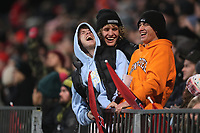 11th July 2020; Christchurch, New Zealand;  Fans gets animated in the stands. Crusaders versus Blues in the Super Rugby Aotearoa. Orangetheory Stadium, Christchurch,