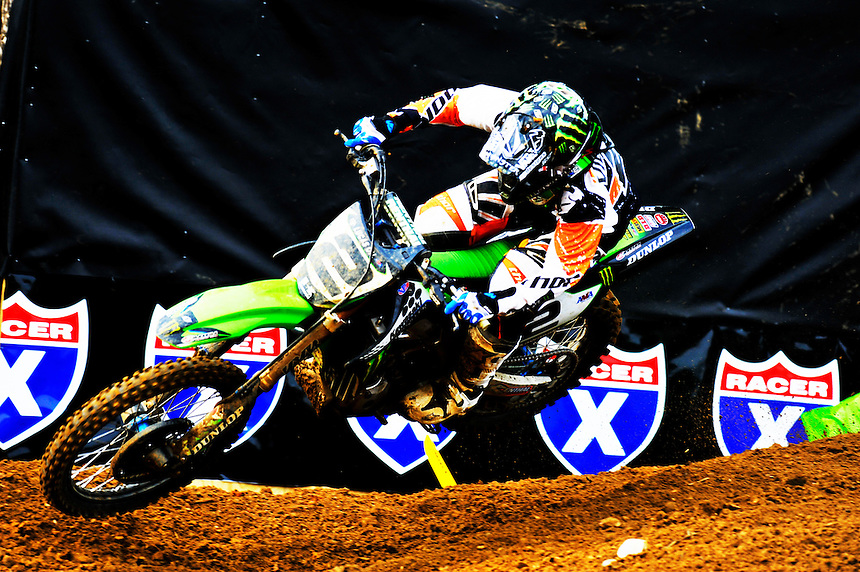 Ryan Villopoto of Monster Energy/Kawasaki tries to catch up to the leaders during the Lucas Oil AMA Pro Motocross at Budds Creek National in Mechanicsville, Maryland on Saturday, June 18, 2011. Alan P. Santos/DC Sports Box