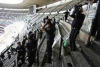 Mexican police officers put on their riot gear inside Azteca stadium before the start of the game. The United States Men's National Team played Mexico in a CONCACAF World Cup Qualifier match at Azteca Stadium in, Mexico City, Mexico on Wednesday, August 12, 2009.