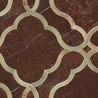 Dorothy, a stone water jet mosaic, shown in Honey Onyx and Rojo Alicante, is part of the Ann Sacks Beau Monde collection sold exclusively at www.annsacks.com