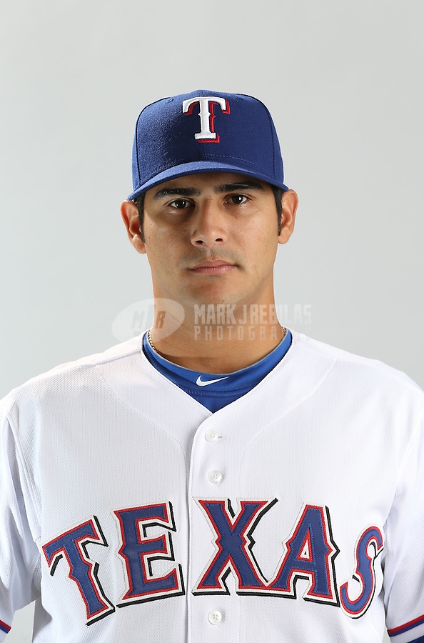 Feb. 20, 2013; Surprise, AZ, USA: Texas Rangers pitcher Martin Perez poses for a portrait during photo day at Surprise Stadium. Mandatory Credit: Mark J. Rebilas-