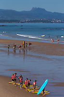 France, Aquitaine, Pyrénées-Atlantiques, Pays Basque, Biarritz: Plage de la Côte des Basques  et surfers //  France, Pyrenees Atlantiques, Basque Country, Biarritz: the Côte des Basques beach and surfers