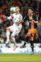 ATENCAO EDITOR IMAGEM EMBARGADA PARA VEICULOS INTERNACIONAIS - MADRI, ESPANHA, 15 JANEIRO 2013 - COPA DO REI - REAL MADRID X VALENCIA -Cristiano Ronaldo jogador do Real Madrid durante partida pelo jogo de ida das quartas-de-finais da Copa do Rei no Estadio Santiago Bernabeu em Madri capital da Espanha, nesta terca-feira, 15. (FOTO: CESAR CEBOLLA / ALFAQUI / BRAZIL PHOTO PRESS)..