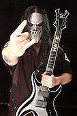 (#7) Mick Thomson – guitars, Slipknot Studio Portrait Session,.In Desmoines Iowa in 2001.Photo Credit: Eddie Malluk/Atlas Icons.com