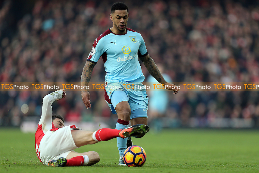 Andre Gray of Burnley and Laurent Koscielny of Arsenal during Arsenal vs Burnley, Premier League Football at the Emirates Stadium on 22nd January 2017