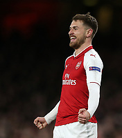 Arsenal's Aaron Ramsey celebrates scoring his side's third goal <br /> <br /> Photographer Rob Newell/CameraSport<br /> <br /> UEFA Europa League Quarter-Final First Leg - Arsenal v CSKA Moscow - Thursday 5th April 2018 - The Emirates - London<br />  <br /> World Copyright &copy; 2018 CameraSport. All rights reserved. 43 Linden Ave. Countesthorpe. Leicester. England. LE8 5PG - Tel: +44 (0) 116 277 4147 - admin@camerasport.com - www.camerasport.com