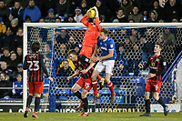 Blackburn Rovers' David Raya climbs above team mate Paul Downing and Portsmouth's Matthew Clarke <br /> <br /> Photographer Andrew Kearns/CameraSport<br /> <br /> The EFL Sky Bet League One - Portsmouth v Blackburn Rovers - Tuesday 13th February 2018 - Fratton Park - Portsmouth<br /> <br /> World Copyright &copy; 2018 CameraSport. All rights reserved. 43 Linden Ave. Countesthorpe. Leicester. England. LE8 5PG - Tel: +44 (0) 116 277 4147 - admin@camerasport.com - www.camerasport.com