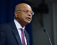 September 26, 2013  (Washington, DC)  Natwar M. Gandhi, outgoing CFO of the District of Columbia, speaks to the media during a news conference by Mayor Vincent Gray announcing his successor.  (Photo by Don Baxter/Media Images International)