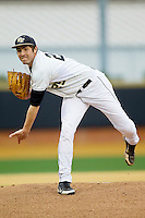 Wake Forest Demon Deacons starting pitcher Matt Conway (25) follows through on his delivery against the Western Carolina Catamounts at Wake Forest Baseball Park on March 26, 2013 in Winston-Salem, North Carolina.  (Brian Westerholt/Four Seam Images)
