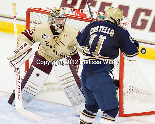 The Boston College Eagles defeated the visiting University of Notre Dame Fighting Irish 3-1 (EN) on Friday, November 9, 2012, at Kelley Rink in Conte Forum in Chestnut Hill, Massachusetts.