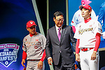Kim Yong-hee, Kim Kang-Min and Kim Kwang-hyun, Mar 28, 2016 : South Korean baseball team SK Wyverns' manager Kim Yong-hee (C), center fielder Kim Kang-Min (L) and left-handed starting pitcher Kim Kwang-hyun pose during a media day and fanfest of 10 clubs in the Korea Baseball Organization (KBO) in Seoul, South Korea. (Photo by Lee Jae-Won/AFLO) (SOUTH KOREA)