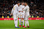 Sergio Ramos (L) and Eden Hazard (R) of Real Madrid celebrate goal during La Liga match between Real Madrid and RC Celta de Vigo at Santiago Bernabeu Stadium in Madrid, Spain. February 16, 2020. (ALTERPHOTOS/A. Perez Meca)