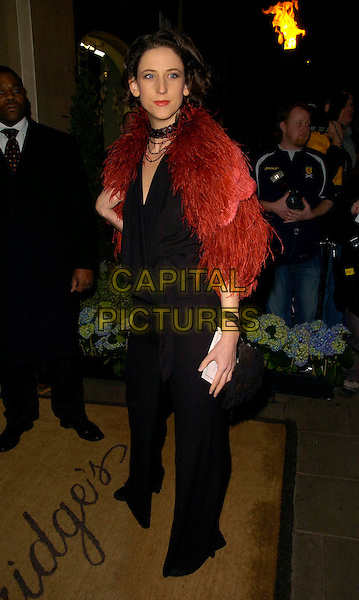 MARIA GRACHVOGEL .Lavender Trust Party, Claridge's Hotel, London, UK..March 14th, 2007.full length black trousers top red orange feathers jacket wrap cape.CAP/CAN.©Can Nguyen/Capital Pictures