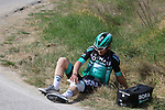 Maximilian Schachmann (GER) Bora-Hansgrohe out injured on sector 6 Lucignano d'Asso during Strade Bianche 2019 running 184km from Siena to Siena, held over the white gravel roads of Tuscany, Italy. 9th March 2019.<br /> Picture: Seamus Yore | Cyclefile<br /> <br /> <br /> All photos usage must carry mandatory copyright credit (© Cyclefile | Seamus Yore)