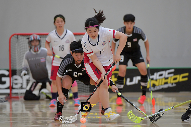 Japan's Maho Karino in action during the World Floorball Championships 2017 Qualification for Asia Oceania Region - Japan v Thailand at ASB Sports Centre , Wellington, New Zealand on Saturday 4 February 2017.<br /> Photo by Masanori Udagawa<br /> www.photowellington.photoshelter.com.