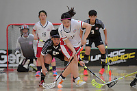 Japan&rsquo;s Maho Karino in action during the World Floorball Championships 2017 Qualification for Asia Oceania Region - Japan v Thailand at ASB Sports Centre , Wellington, New Zealand on Saturday 4 February 2017.<br /> Photo by Masanori Udagawa<br /> www.photowellington.photoshelter.com.