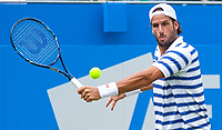 Feliciano Lopez (ESP) in action during the final against Marin Cillic (CRO), Aegon Tennis Championships Final, Queen's Tennis Club, London, England, 25th June 2017.