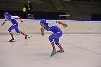 SCHAATSEN: HEERENVEEN: 16-01-2016 IJsstadion Thialf, Trainingswedstrijd Topsport, Janine Smit, Margot Boer, ©foto Martin de Jong