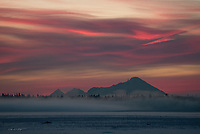 The clouds above Mount Iliamna, an active volcano, capture a brilliant red hue from one of Alaska's countless and amazing winter sunsets.
