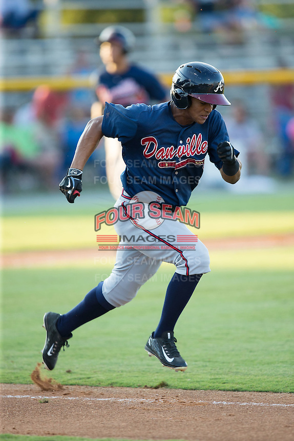 Ray-Patrick Didder (1) of the Danville Braves hustles down the first base line against the Burlington Royals at Burlington Athletic Park on August 13, 2015 in Burlington, North Carolina.  The Braves defeated the Royals 6-3. (Brian Westerholt/Four Seam Images)