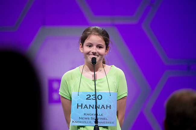 Speller 230 Hannah Katherine Jackson competes in the preliminary rounds of the Scripps National Spelling Bee at the Gaylord National Resort and Convention Center in National Habor, Md., on Wednesday,  May 30, 2012. Photo by Bill Clark