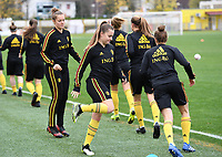 20191107 - Zapresic , BELGIUM : Belgian Diede Lemey (left) and Davinia Vanmechelen pictured during a Matchday -1 training session before a  female soccer game between the womensoccer teams of  Croatia and the Belgian Red Flames , the third women football game for Belgium in the qualification for the European Championship round in group H for England 2021, Thursday 7 th october 2019 at the NK Inter Zapresic stadium near Zagreb , Croatia .  PHOTO SPORTPIX.BE | DAVID CATRY