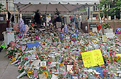 Flowers and tributes to the late Princess Diana spill onto the sidewalk in front of the British Embassy in Washington, DC on September 6, 1997. The Princess was killed in a car crash in Paris, France.  <br /> Credit: Ron Sachs / CNP