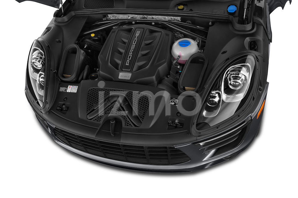 Car Stock 2015 Porsche Macan S 5 Door SUV Engine high angle detail view