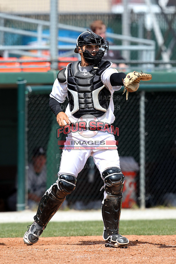Hagerstown Suns catcher Cole Leonida #33 wants a swing checked by the first base umpire during a game against the Lexington Legends at Municipal Park on April 11, 2012 in Hagerstown, Maryland.  Lexington defeated Hagerstown 3-0.  (Mike Janes/Four Seam Images)