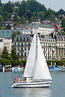Lucerne, Luzern, Switzerland, June 2012. Lucerne is a beautiful small city in the heartland of Switzerland on the Vierwaldstättersee. In addition to being a fine place to visit in and of itself Luzern is a great base from which to explore famous Swiss sites such as Mount Rigi. By taking the train to reach the highest railway stations of Europe, we get the trailheads for some spectacular high alpine hikes. Photo by Frits Meyst/Adventure4ever.com