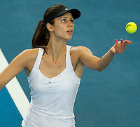 TSVETANA PIRONKOVA (BUL) against PETRA KVITOVA (CZE) in the group stage of the Hopman Cup. Czech Republic beat Bulgaria 6-4 6-2..02/01/2012, 2nd January 2012, 02.01.2012..The HOPMAN CUP, Burswood Dome, Perth, Western Australia, Australia.@AMN IMAGES, Frey, Advantage Media Network, 30, Cleveland Street, London, W1T 4JD .Tel - +44 208 947 0100..email - mfrey@advantagemedianet.com..www.amnimages.photoshelter.com.