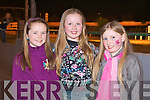GREYHOUND NIGHT: Watching the Dogs at the Gaelscoil Mhic Easmainn Night at the Dogs in Kingdom Greyhound Stadium on Saturday l-r: Ria Walsh, Eabha Murphy and Laura Hynes.