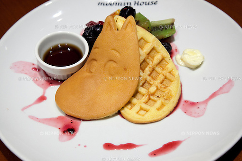 "Tokyo, Japan - The ""Moomin waffle cake"" at the Moomin House Cafe in TOKYO SKYTREE on June 17, 2014. There are three Moomin Cafe in Japan, serving food and desserts in the form of the Finnish character. This year is the 100th anniversary of the birth of their creator Tove Jansson (1914 - 2001). (C) Moomin CharactersTM. (Photo by Rodrigo Reyes Marin/AFLO)"