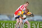 Padraig O Dubhain Chorca Dhuibhne tackles Shane Creedon De La Salle in Knocknagree on Sunday
