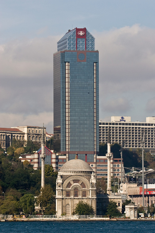 Mosque, Highrise Office building, Be?ikta?, Istanbul, Turkey, architectural, cultural contrast, mosque, highrise, Bosporus,