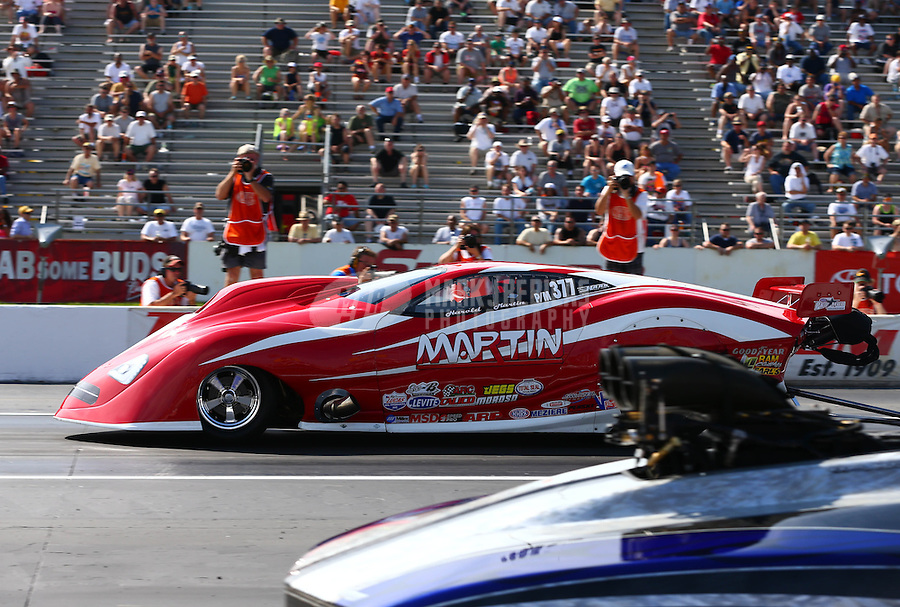 May 31, 2013; Englishtown, NJ, USA: NHRA pro mod driver Harold Martin during qualifying for the Summer Nationals at Raceway Park. Mandatory Credit: Mark J. Rebilas-