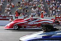 May 31, 2013; Englishtown, NJ, USA: NHRA pro mod driver Harold Martin during qualifying for the Summer Nationals at Raceway Park. Mandatory Credit: Mark J. Rebilas-