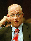 United States Secretary of the Treasury-designate Henry M. Paulson Jr. testifies before the United States Senate Committee on Finance on his confirmation to the post  in Washington, D.C. on June 27, 2006.  Paulson is currently Chairman and CEO of the investment banking firm Goldman Sachs.  He was nominated by United States President George W. Bush to replace the current treasury secretary, John Snow.<br /> Credit: Ron Sachs / CNP
