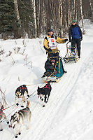 Zack Steer w/Iditarider on Trail 2005 Iditarod Ceremonial Start near Campbell Airstrip Alaska SC