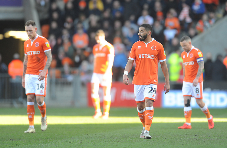 Blackpool's Liam Feeney (centre) looks dejected after Southend United's Rob Kiernan (not in picture) scores the opening goal <br /> <br /> Photographer Kevin Barnes/CameraSport<br /> <br /> The EFL Sky Bet League One - Blackpool v Southend United - Saturday 9th March 2019 - Bloomfield Road - Blackpool<br /> <br /> World Copyright © 2019 CameraSport. All rights reserved. 43 Linden Ave. Countesthorpe. Leicester. England. LE8 5PG - Tel: +44 (0) 116 277 4147 - admin@camerasport.com - www.camerasport.com