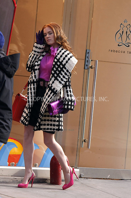 WWW.ACEPIXS.COM . . . . .  ....February 19 2008, New York City....Actress Isla Fisher on the set of her new movie 'Confessions of a Shopaholic' in Soho.....Please byline: AJ Sokalner - ACEPIXS.COM..... *** ***..Ace Pictures, Inc:  ..te: (646) 769 0430..e-mail: info@acepixs.com..web: http://www.acepixs.com