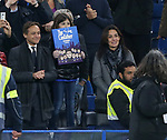 Antonio Conte's wife Elisabetta Muscarello and daughter Vittoria (with banner) watch Antonio during the Premier League match at Stamford Bridge Stadium, London. Picture date: May 8th, 2017. Pic credit should read: David Klein/Sportimage