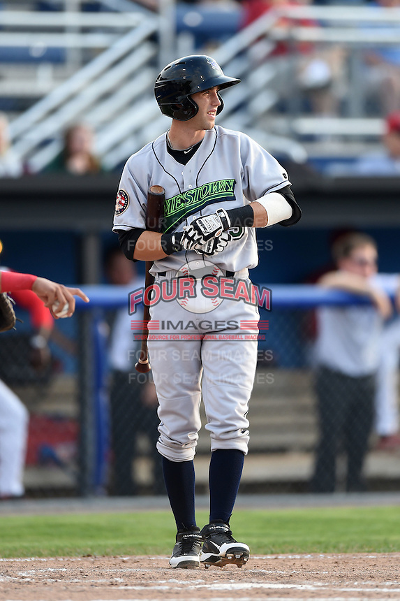 Jamestown Jammers second baseman Erik Forgione (25) at bat during a game against the Batavia Muckdogs on July 7, 2014 at Dwyer Stadium in Batavia, New York.  Batavia defeated Jamestown 9-2.  (Mike Janes/Four Seam Images)
